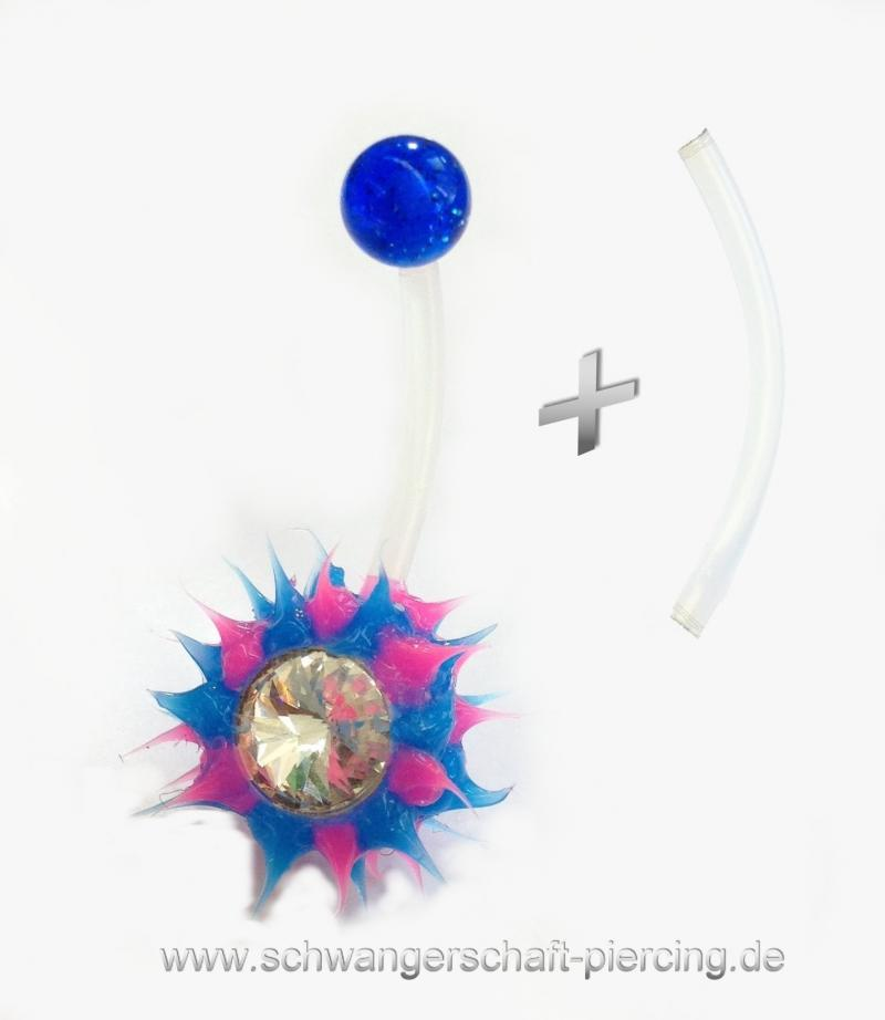 Spiky Blau Schwangerschaftspiercing