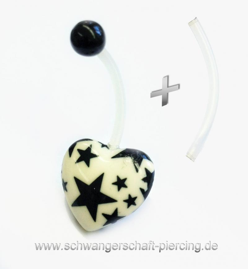 Herz Schwarz Schwangerschaftspiercing