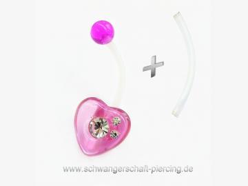 Herz Purple Schwangerschaftspiercing