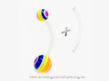 Stripy Rainbow Schwangerschaftspiercing